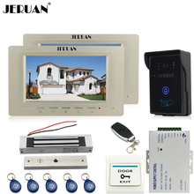 JERUAN two luxury 7`` Video Intercom Video Door Phone System+700TVL RFID Access Waterproof Touch key Camera+Magnetic lock