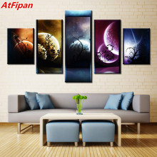 AtFipan 5 Pieces Venus Jupiter Mars Planet Mercury Starry Sky Modern Home Wall Decor Canvas Picture Art HD Print Painting Canvas