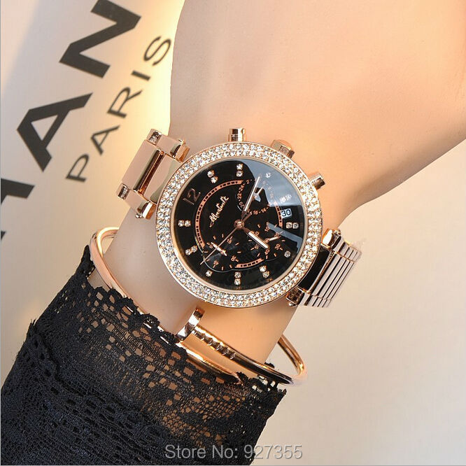 High Quality Women Rhinestone Watches  New Arrival Women Gift Watch Luxury Quartz Watch Stainless Steel Rose Gold Wristwatches<br><br>Aliexpress