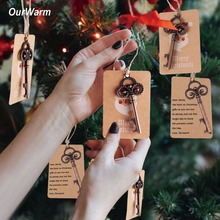Ourwarm 10 set Christmas Tree Decorations Bottle Opener+ Santa Gift Tags Christmas Pendant Drop Ornaments Diy Craft(China)