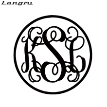 Langru Car Styling For Monogram Initials Personality Vinyl Decal Sticker Phone Car Truck Cute Art Form Jdm(China)