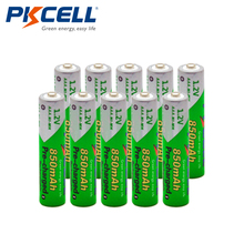10pcs/Lot High Energy PKCELL 1.2V NiMh AAA 850mAh Rechargeable Battery Ni-Mh Low Self-discharged Batteries Battria