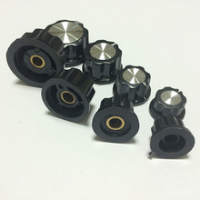 free shipping 20 Pcs 20x11mm 6mm Shaft Dia Volume Control Plastic Potentiometer Knobs Caps Black Rotary Switches(China)