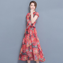 2017summer the new lotus leaf large V collar short sleeved big pendulum chiffon dress robe femme dresses red green 2018 VA(China)