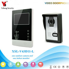 YobangSecurity 4.3″Inch Color Wired Video Door Phone System Visual Intercom Doorbell with 1 Monitor 1 Outdoor Camera Rainproof