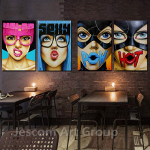 1Piece Framed Poster Painting Sexy American Women Big Eyes Bright Colours Wall Picture DIY Bar Room Hotel Toilet Ready to Hung