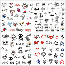 wholesale New Fashion Nail decal Terrorist Skull Nail care tip sticker Nail art beauty patch decoration 500pks/lot free shipping(China)