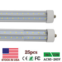 FA8 V-Shape Single Pin 8ft LED Tube Lights T8 2.4m LED Tube 2400mm Super Bright Clear Cover LED Tube Lamps 72W US SHIP 25Pack(China)