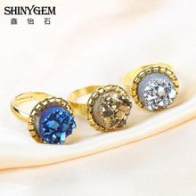 5PCS Amazing Natural  White Round Drusy Druzy Ring Gold Plating Crystal Druzy Stone Ring for Women Colorful Quartz Ring