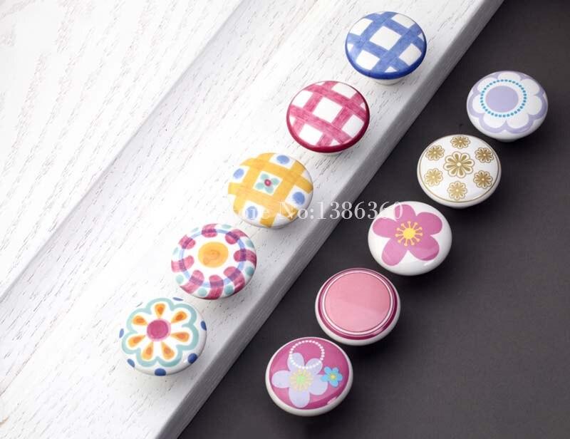 Children room cartoon handle flowers/grid knob han...