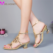 Kitten Heel Gold Rhinestone Wedding Sandals Slingback Comfortable Party Dancing Shoes Chunky Heel 2 Inches Summer Dress Shoes