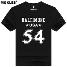 TYUS BOWSER 54 baltimore custom made name number t shirt Tyler Texas t-shirt team usa Houston print text blue red black clothing(China)
