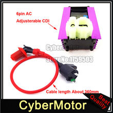6 Pin Racing Adjuster AC CDI + Ignition Coil  For 50cc 125cc 150cc ATV Quad GY6 Scooter Moped