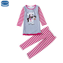 Novatx new baay girls suits winter baby girls clothing sets apllique children clothes girls casual sets with rabbit for girls(China)