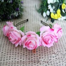 Hot Sale Rose Floral Flower Garland Crown Headbands Hair Band Bridal Festival Holiday Headwear 2017 New(China)