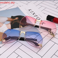 2017 new Italy design Beach Women Oversized Rimless Sunglasses Cutting Lens Unique Sun Glasses Gradient Clear Lens Original box(China)