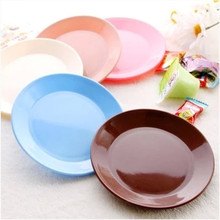 2PCS/Lot Tableware Plastic Snack Plate Dish 13cm Small Flat Plate Dish Food Grade Plastic Colorful Fruit Biscuit BBQ Snack Plate