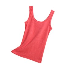 Cotton Wool Grinding Small Cotton Vest Thread U - Neck Camis Women Candy Color Underwear Tank Tops F4