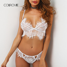 COLROVIE Scallop Trim Eyelash Lace Lingerie Set 2018 New Arrival White Adjusted-straps Plain Woman Clothing Sexy Lingerie Set(China)