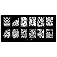 Rectangle Nail Art Templates Nail Art Stamp Image Plate Lace Wave Flowers Pattern Design Stamping Plates DIY Nail Tools A-012(China)