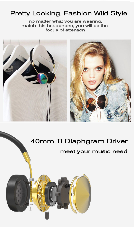 Liboer Beautiful Headphones Dynamic Headband Rose Gold Headphones with Mic Wired Headset for Mobile Phone On-ear Headphone 04