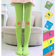 Baby girl children's kids pantyhose stocking velvet cartoon hello kitty cat dance tights leg warm for child candy color new 2015