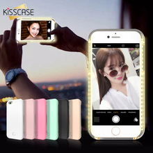 KISSCASE For iPhone 6 6s 7 Plus 5 5S Case Selfie LED Flash Light Cover Luminous Hard Capa For Samsung S6 S7 Edge illuminat Shell