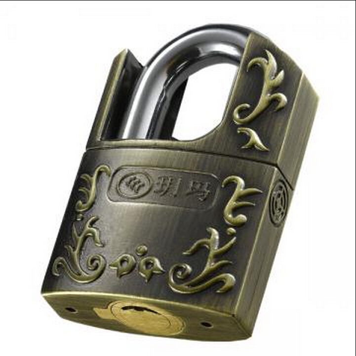 High Grade Security Stainless Alloy Door Warehouse Padlock Copper Retro locks with 3 keys<br>