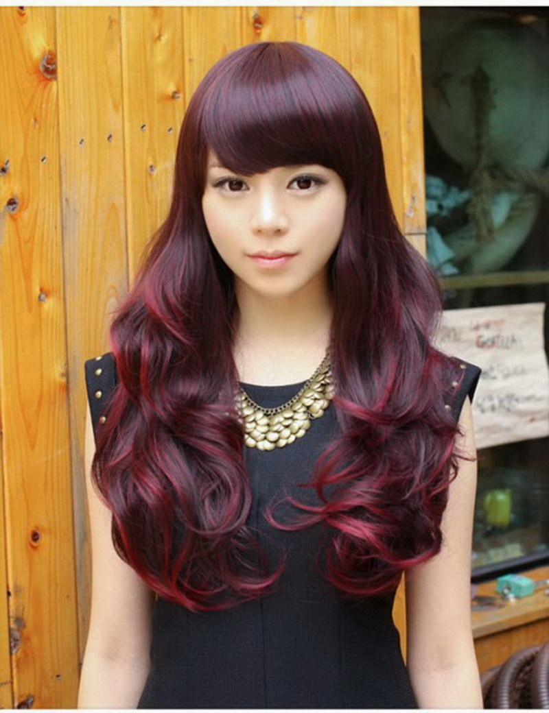 24inch Heat Resistant Synthetic Korea Hair Natural Harajuku Wine Red highlights Long Wavy Wig With Inclined Bangs For Women<br><br>Aliexpress