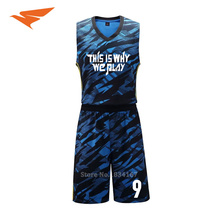 Men basketball kits customized basketball uniforms Adult 3D printed basketball sets DIY basketball jerseys new 2017(China)