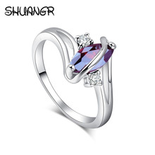 SHUANGR New Fashion Silver-Color Ring Red Oval Cubic Zirconia Leaf Royal lady's party finger rings TD335/TD340/TD342(China)