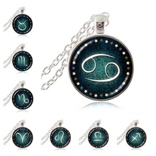 Astrological Sign 12 Constellation Silver Necklace Zodiac Cancer Glass Art Medallion Pendant Chain Necklace Birthday Accessories