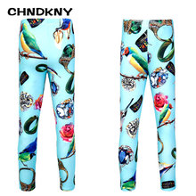 CHNDKNY Girls Colorful Warm Leggings 2017 Autumn  Spring Kids Print Leggings for Girls Baby Comfortable Fashion Underwear Pants