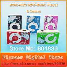 New Arrival Hot Sell 50pcs/lot Cute Hello Kitty MP3 Music Player Gift MP3 Player Support Micro TF Card 5 Colors Free Shipping