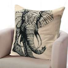 Vintage Elephant Pillow Case Throw Home Soft Waist Square Cushion Cotton Linen Cover 45X45cm Retro Bed Supplies Home Texitles