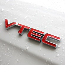 Red VTEC Full Metal Zinc Chrome Car Styling Refitting Emblem Fender Trunk Badge Sticker for Honda Civic Accord Odyssey Spirior