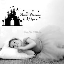 Creative Princess of the Castle Customized Sweet Dreams Girls Name Vinyl Cartoon Wall Decal Sticker for Baby