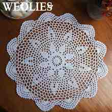 37CM Round Lace Hand Crocheted Doily Placemat Vintage Floral Coasters Home Coffee Shop Dining Table Decorative Gadgets