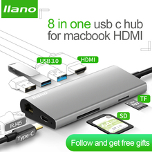 Llano USB док-станции все-в-одном USB-C к HDMI Card Reader RJ45 PD адаптер для MacBook samsung Galaxy S9/S8/S8 + Тип C концентратора(China)