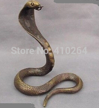 FREE SHIPPING [Nice Discount ] 7.5  Folk Copper Bronze Fengshui Lucky Wealth Zodiac Snake Cobra Statue