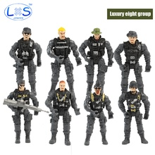 (LONSUN)8pcs/set PVC Military Action Figure special soldier Modern Toy Joint Movable With Weapons Christmas gift Kids Toys