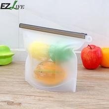 1pc Reusable Silicone Food Storage Bag Vacuum Food Sealer Bags Wraps Fridge Food Storage Silicone Soup Freezing Bag Kitchen Tool(China)