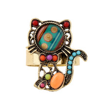 Newest Arrival Metal Lovely Cat Ring Jewelry For Women Party Gift Antique Gold Color Boho Colorful Bead Adjustable Cat Ring(China)
