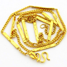 GNIMEGIL Fashion Necklaces for Women Men Pure Gold Color ID Bar Pendant Statement Necklace Party Club Jewelry Wholesale(China)