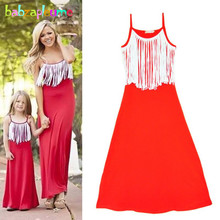 Mother Daughter Matching Dresses Kids Clothes Family Clothing Sets Tassel Design Family Look Dress Summer Girls Outfits New A217