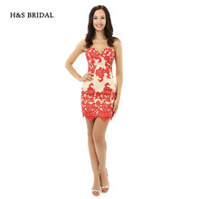 H&S BRIDAL Sexy Red Lace Appliques Champagne Brand Short Prom Dresses Black Girls Sexy Party Evening Gowns(China)