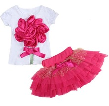 2pcs Little Girls T-shirt Tops + Tulle Tutu Skirts Set Summer Boutique Children Clothing Fashion Appliques Flower Kids Clothes(China)