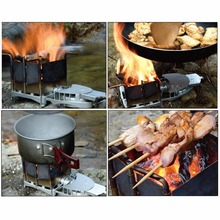 Folding Wood-burning Combination Stove Portable Outdoor Camping Stove Picnic Firewood Furnace Barbecue BBQ Grill Charcoal Stove