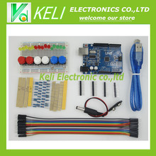 Free Shipping 1set new Starter Kit UNO R3 mini Breadboard LED jumper wire button for Arduino compatile