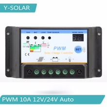 PWM 10A Solar Charge Controller 12V/24V Auto Solar Panel Battery Charge Regulator with Dual Timer Function and Digital LED Menu
